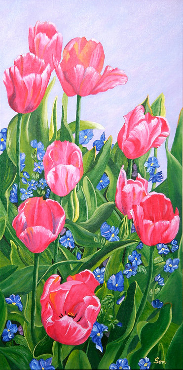 """Tulips and Violets, 12x 24"""""""