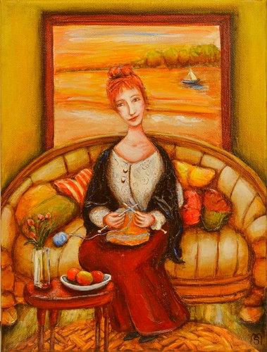 """""""Lady Knitting"""", 2020-05"""