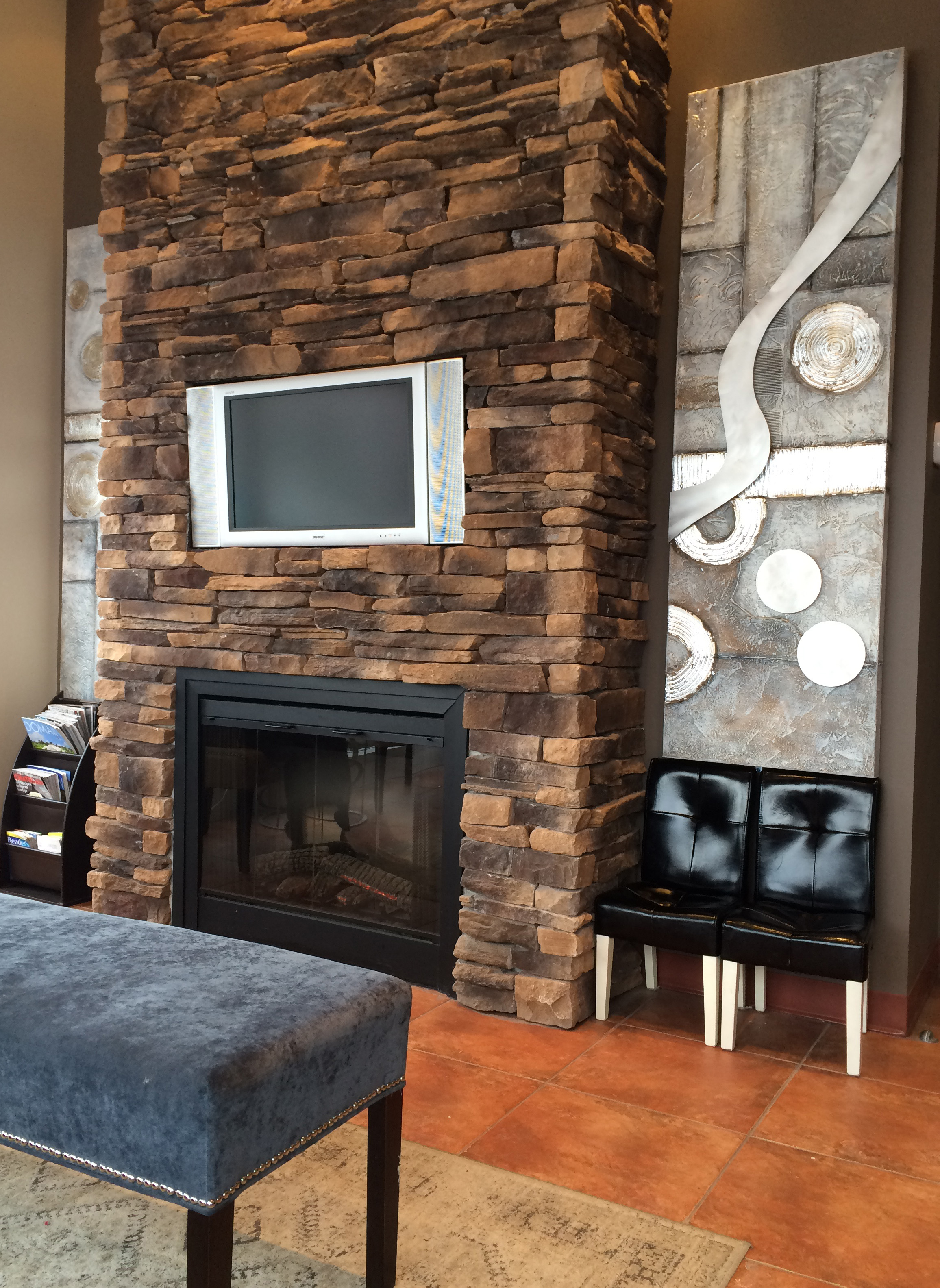 Clinic - Waiting Room with stone fireplace