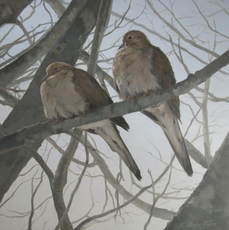"""Mourning Doves in Winter, 12x12"""""""