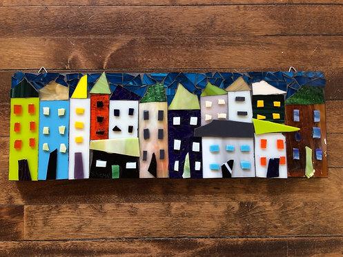 """Little Houses III- 18x6"""""""