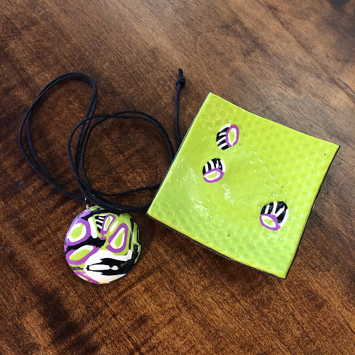 Lime Green with Black and Purple