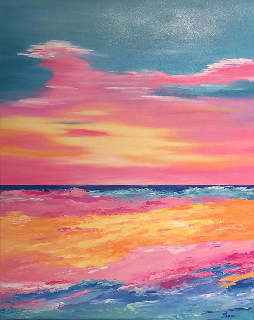 "Coral Ocean, 16x20"""