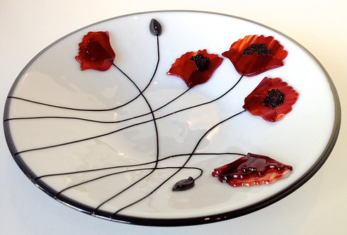 Poppies glass bowl