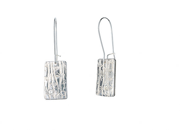 Fine Silver and White Sapphire Bamboo Rectangle Earrings