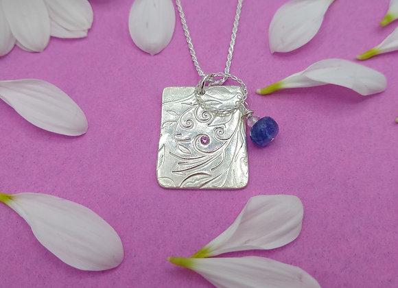 Fine Silver Rectangle Pendant with Rhodolite Garnet and Dangle Bead Charm Dangle