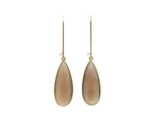 Gray Moonstone Natural Gemstone Teardrop Earrings
