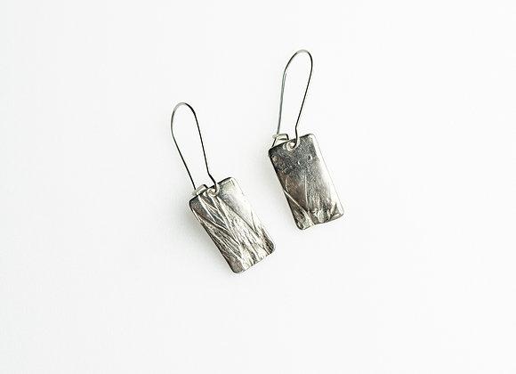 Fuchsia Fine Silver Rectangle Earrings