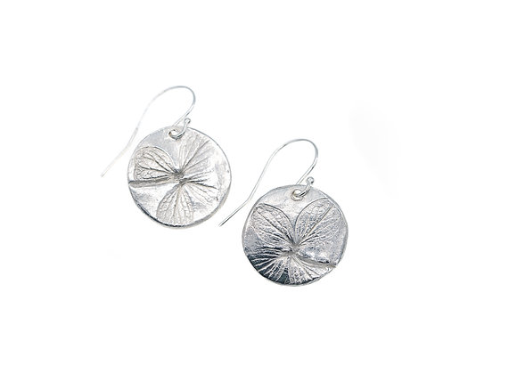 Lime Hydrangea Fine Silver Circle Earrings