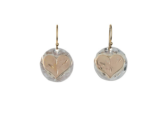 Hammered Sterling Silver Disks and Gold Filled Hearts