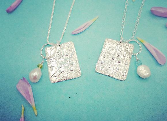 Fine Silver Pendant with Dangle Bead Charm Dangle