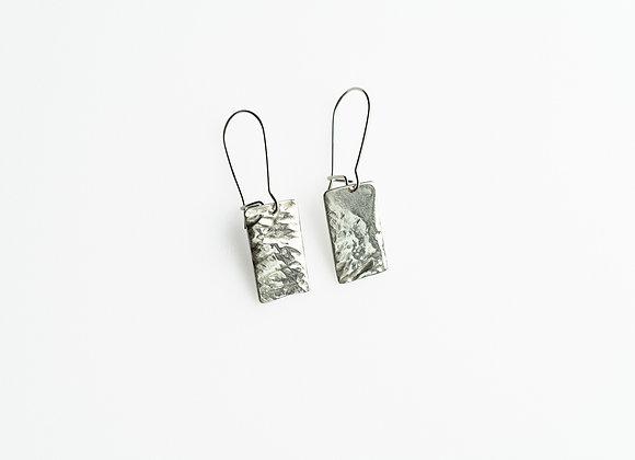 Maple Leaf Fine Silver Rectangle Earrings