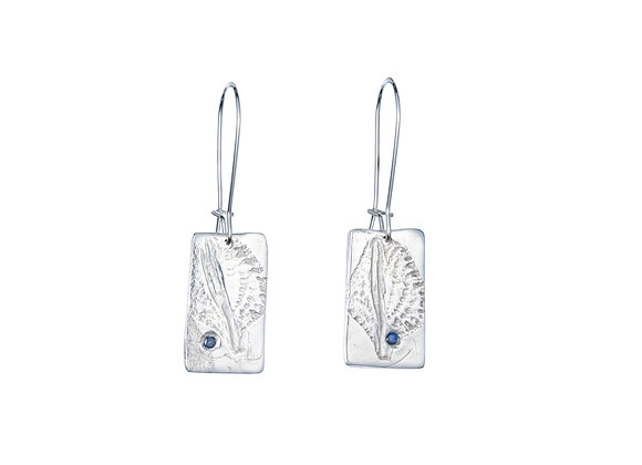 Fine Silver and Cobalt Blue Sapphire Leaf Earrings