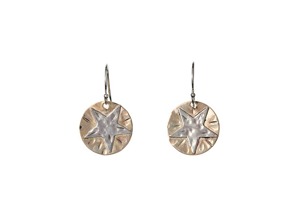 Hammered Sterling Silver Disks and Gold Filled Stars