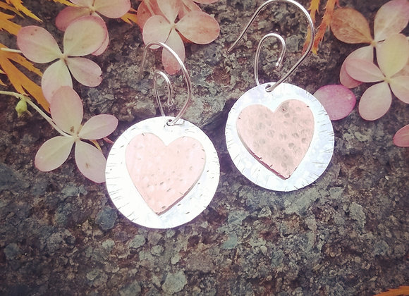 Hammered Sterling Silver Disks and Copper Hearts