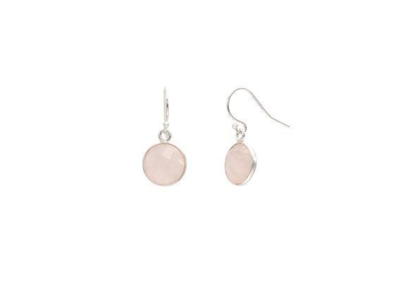 Rose Quartz Circle Natural Gemstone Earrings