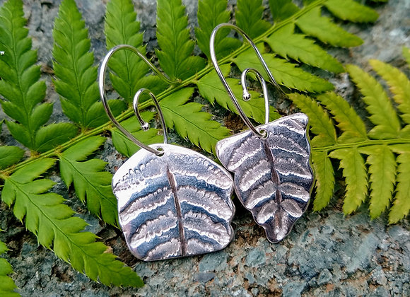 Mismatched Fern Fine Silver Earrings