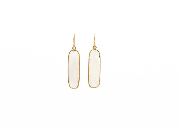 Rainbow Moonstone Natural Gemstone Rectangle Earrings