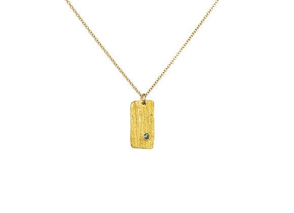 22k Gold Lily Petal Rectangle Teal Sapphire Pendant
