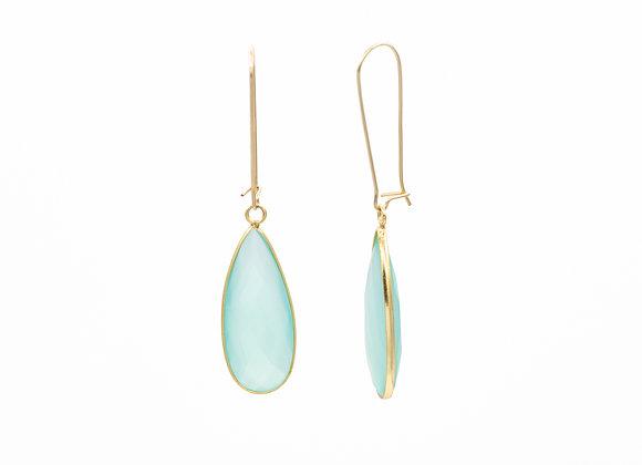 Aqua Green Chalcedony Gemstone Teardrop Earrings