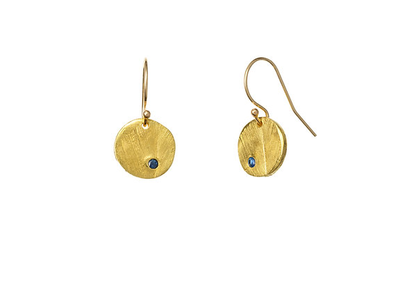 22k Gold Circle Colbalt Blue Sapphire Earrings