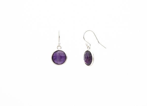 Amethyst Circle Natural Gemstone Earrings