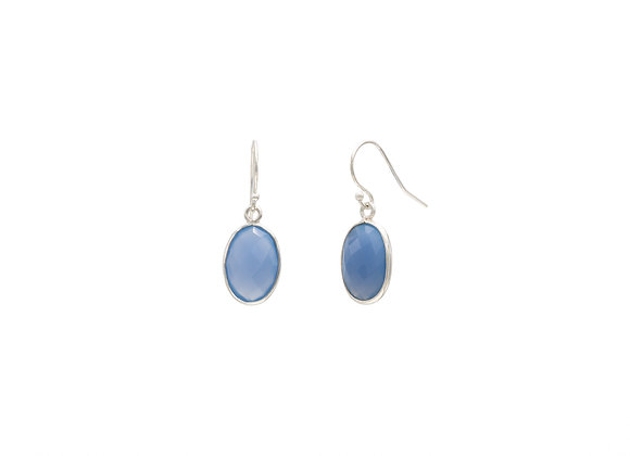 Blue Chalcedony Circle Natural Gemstone Earrings