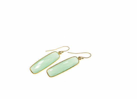 Green Chalcedony Natural Gemstone Rectangle Earrings