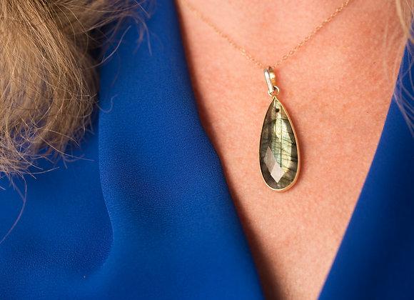Labradorite Gemstone Statement Teardrop Pendant Necklace