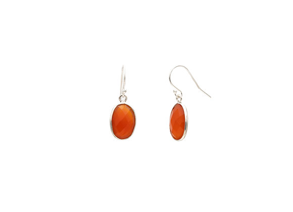 Carnelian Circle Natural Gemstone Earrings