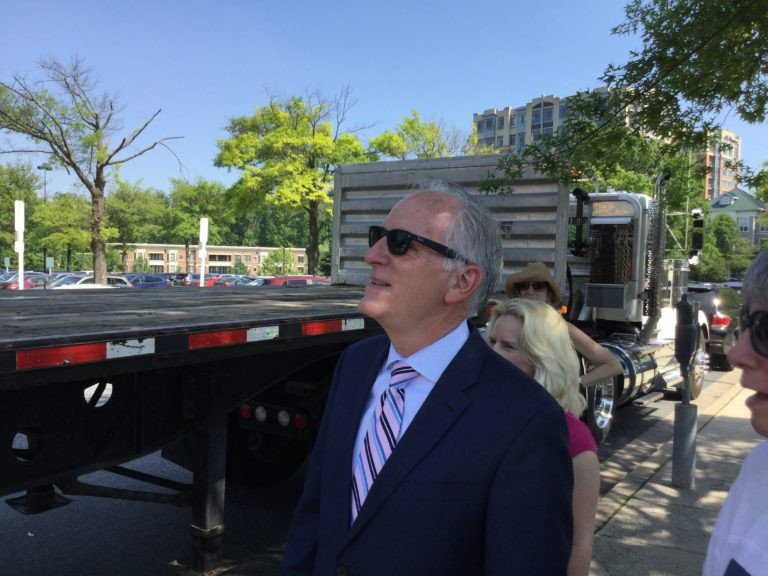 WMATA GM Paul Wiedefeld admires a new sculpture that will be added to Strathmore Square. | Douglas Tallman