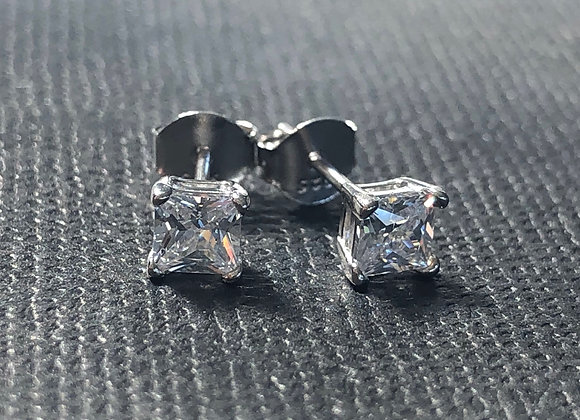 4mm Sterling Silver 4 claw square CZ studs