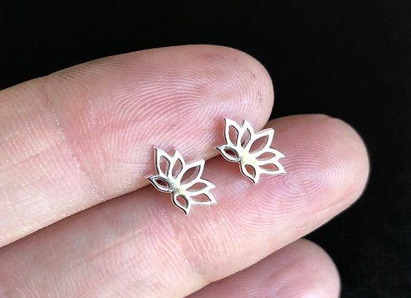 Tiny lotus leaf studs sterling silver