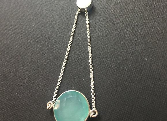 Sterling Silver & Chalcedony Adjustable Bracelet