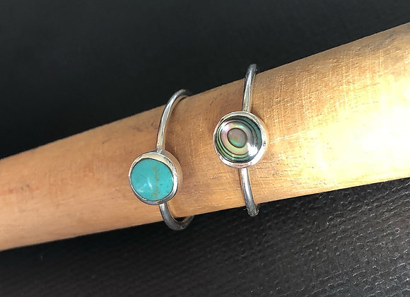 Sterling Silver & Abalone Shell Stacker Ring