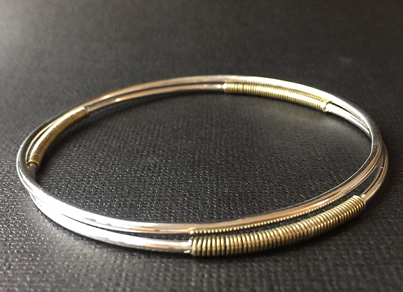 Two-tone Sterling Silver & brass Bangles