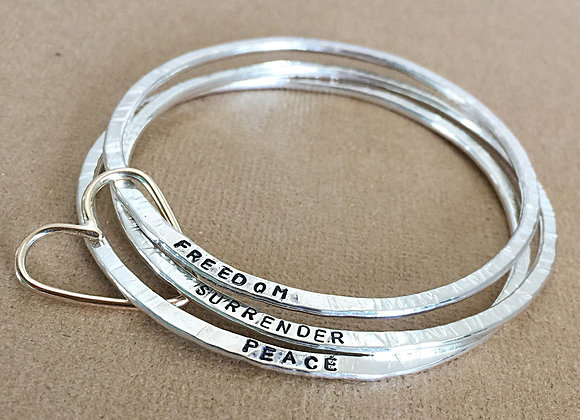 Sterling Silver Bangles with 9ct Gold heart connector