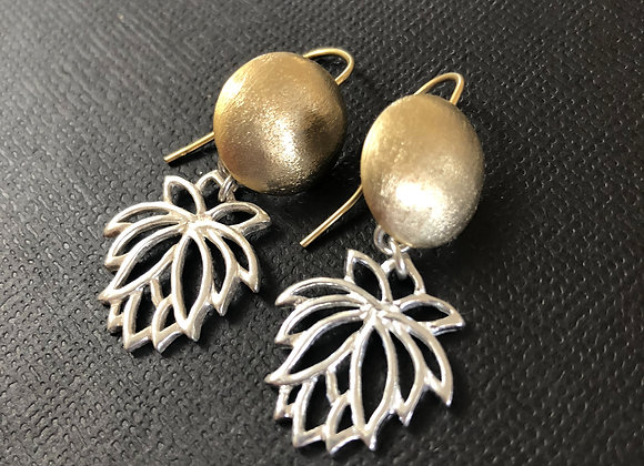 Brushed gold plated brass with sterling silver lotus earrings