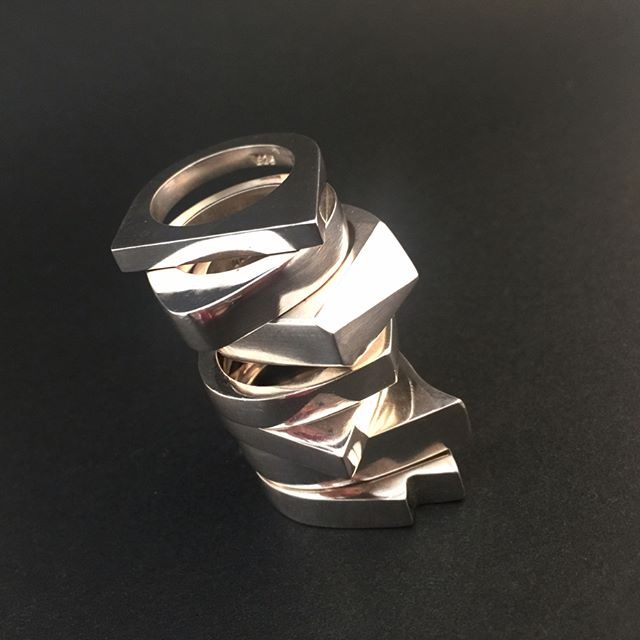 Geometric Rings of every shape #karibastudios #custom #bespoke #sterlingsilver