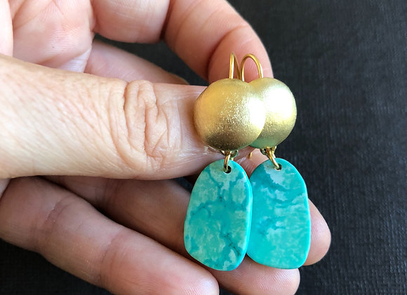 'Sunset' Gold Plate Brass earrings with howlite drops