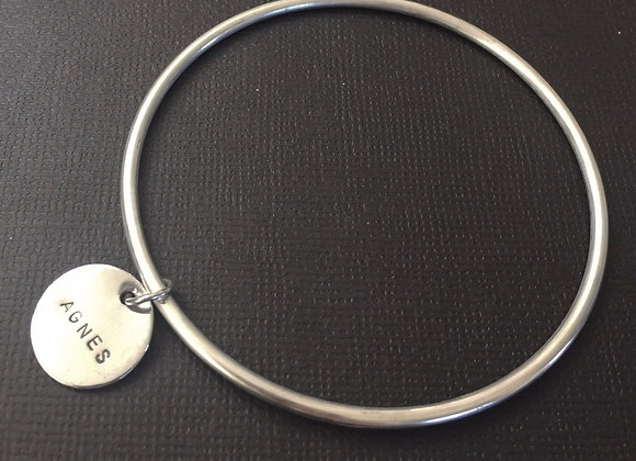 Sterling Silver bangle with individual charm
