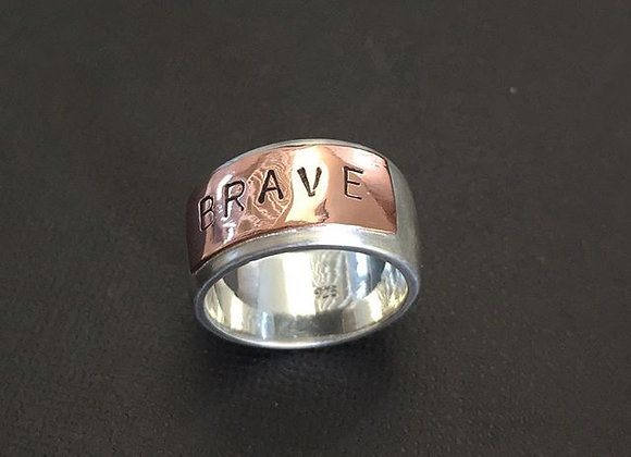 Sterling Silver & Copper Name Ring