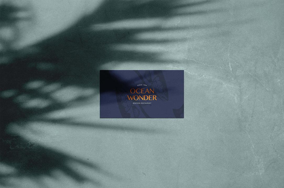 Ocean Wonder Business Card, bronze foil