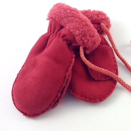 Childrens Sheepskin Mittens with Cord