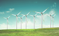 Windmills on green field