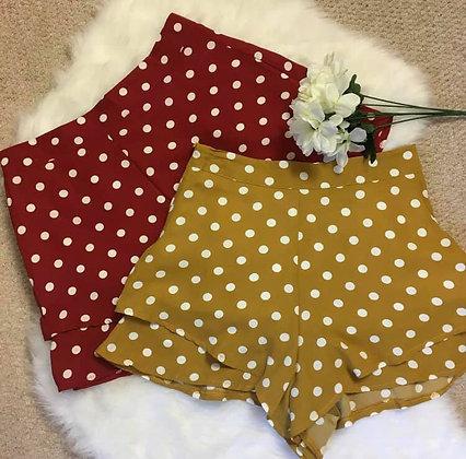 Red and Mustard Polka Dot Shorts