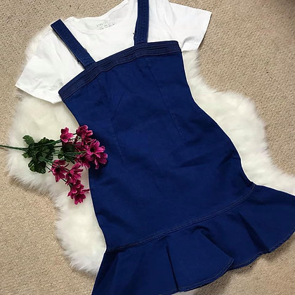 Denim Bodycon Frill Hem Dress