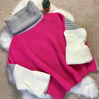 Pink, Grey and Cream Chunky Knit