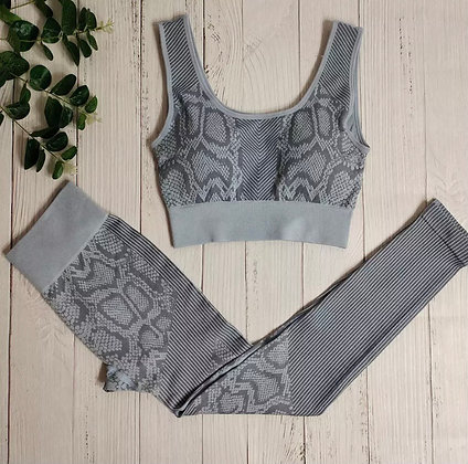 Grey Snakeskin Gym Set