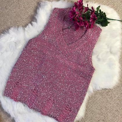 Pink Glitter Knit Top